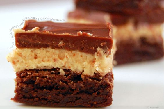 Chewy brownie layered with creamy peanut butter & topped with chocolate ganache