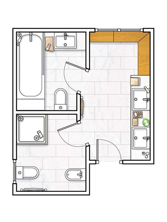 Planos de cuartos de ba o peque os buscar con google for Diseno de una habitacion con bano