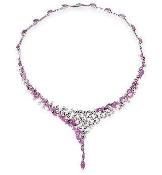 Herausragendes Pink-Saphir-Brillant-Collier