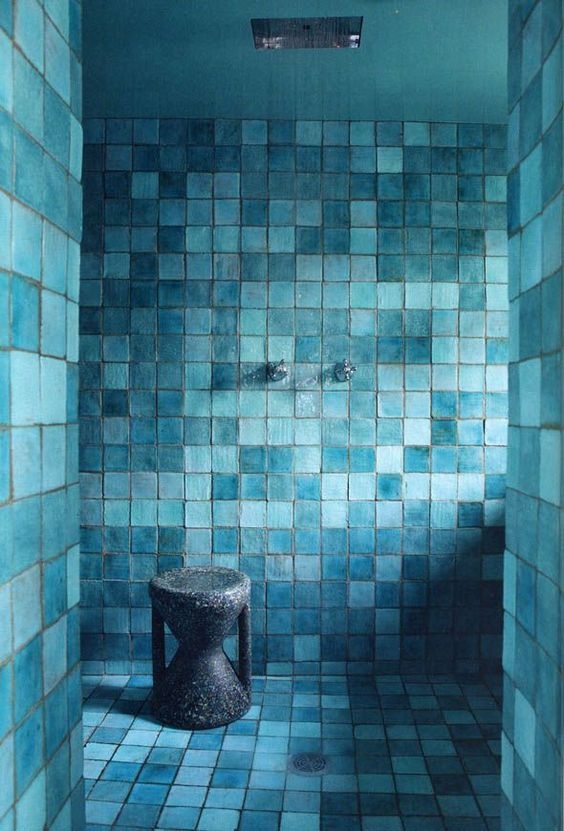 Aqua bathroom paris home aqua turquoise teal tile - Turquoise bathroom floor tiles ...
