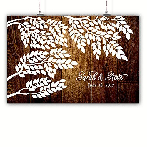 Wedding Tree Guest Book Alternative Poster 200 Signatures Rustic Wood Background Framed or Canvas Custom and Personalized Print