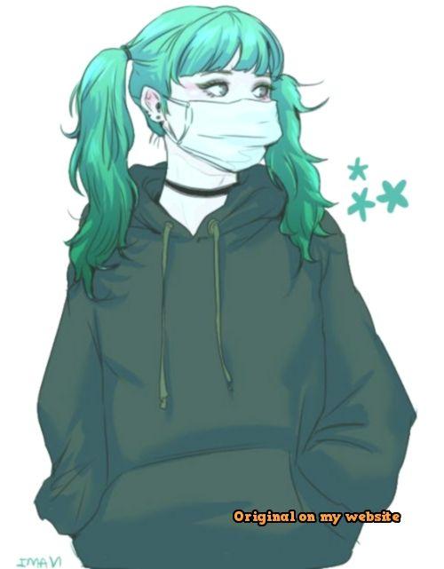 Art Drawings Tumblr Female Green Hair Dark Green Hoodie Stars Two Ponytails Choker Mask Best Art Pin Two Ponytails Green Hair Dark Green Hoodie