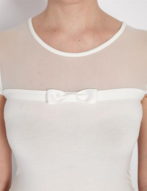 T-shirt bimatière avec noeud