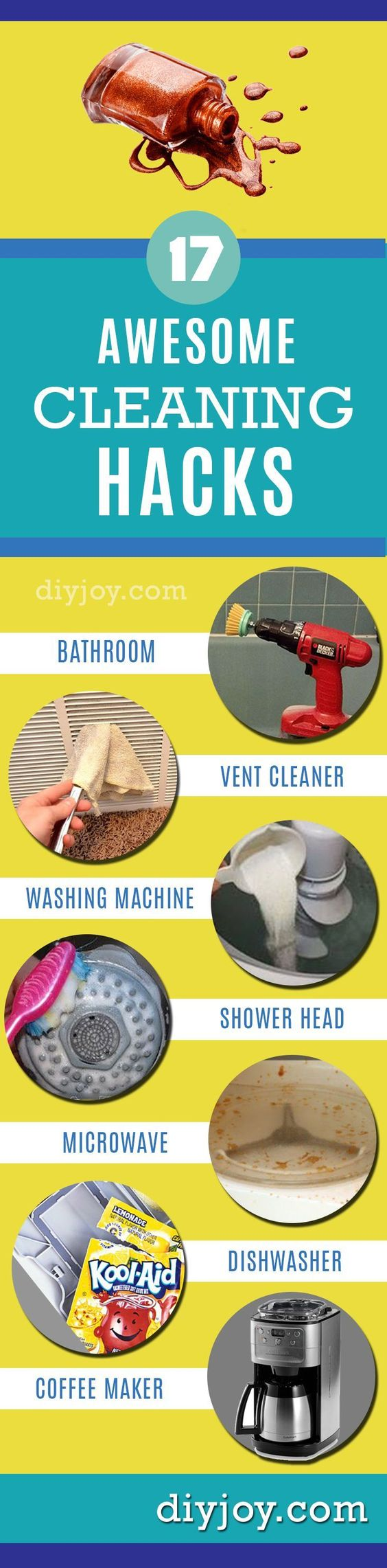 DIY Cleaning Hacks For Every Room In Your House | EASY DIYs http://diyjoy.com/cleaning-tips-life-hacks: