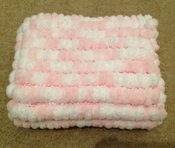 Marshmallow Crochet Baby Blanket Pattern : white rico marshmallow pom pom baby blanket the supermums ...