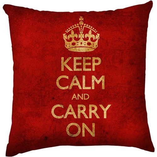 Capa para Almofada Keep Calm Envelhecido Vermelha Poliéster (40x40cm) - Haus For Fun