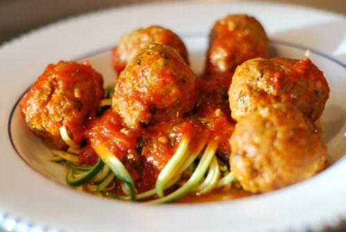 Zucchini Spaghetti (Zoodles!) & Meatballs   Nom Nom Paleo
