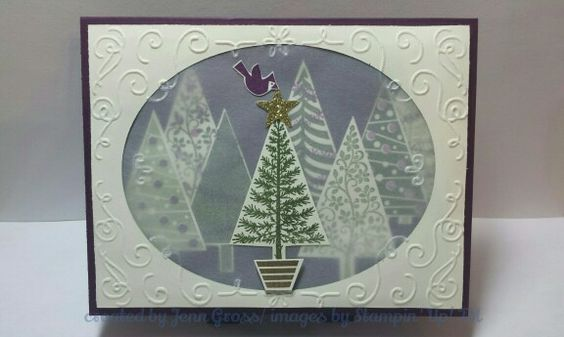 CYCI44 Color Challenge- Festival of Trees stamps, filigree frame empossing folder, vellum,Blackberry Bliss, Mossy Meadow, and Very Vanilla