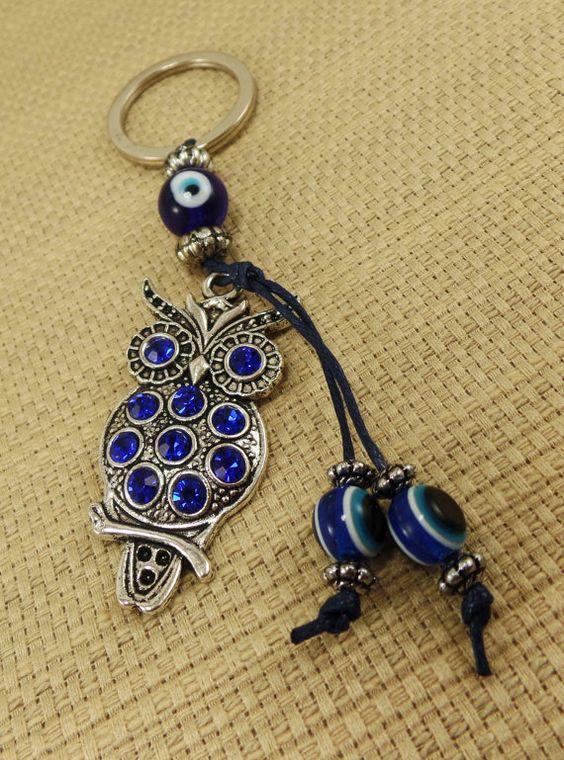 Owl Keychain - Owl Jewelry Good Luck Lucky Eye- Owl Keychain Car Decoration