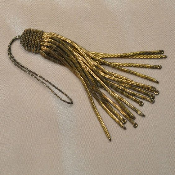One French Antique Golden Bullion Metal Tassel by DanetteDarbonne