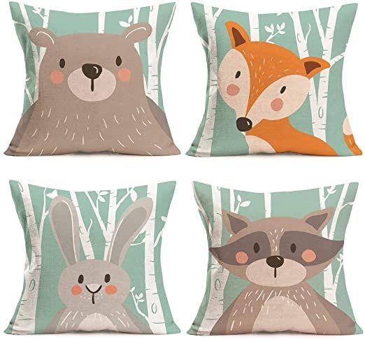 Fukeen Set Of 4 Throw Pillow Cases Cartoon Animal Woodland Decorative Cotton Linen Cushion Cover Bear Fox Rabb Cotton Linen Cushion Linen Cushion Throw Pillows