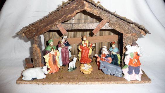 SALE!!! Vintage Christmas Nativity Set 10pcs, Wooden Stable Nativity Set Porcelain Figures Holy Land,  Christmas Creche Manger Scene by Grandchildattic on Etsy