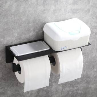 Alpine Double Wall Mount Toilet Paper Holder With Shelf Storage Rack In 2020 Toilet Paper Holder Black Toilet Paper Holder Toilet Paper Storage