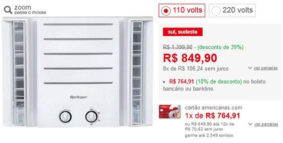 Ar Condicionado de Janela Springer Duo 7.500 BTUs Frio Mecânico << R$ 68842 >>