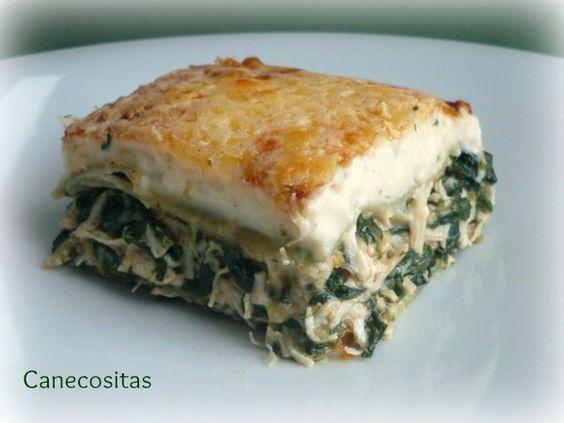 Lasaña de pollo y espinacas http://www.recetariocanecositas.com/lasana-de-pollo-y-espinacas/