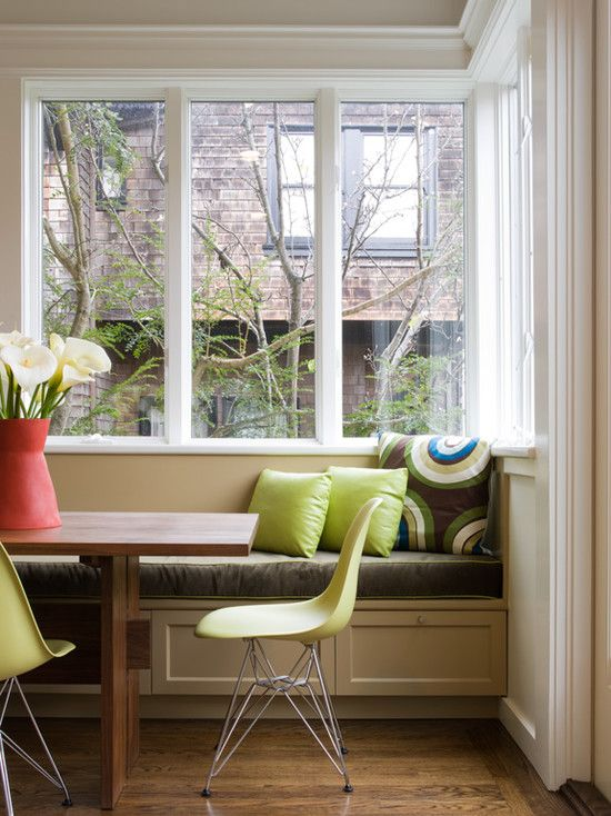 Interesting Kitchen Banquette Dimensions Near The Dining Room Stunning Using Brown Table With Green Chairs Combined