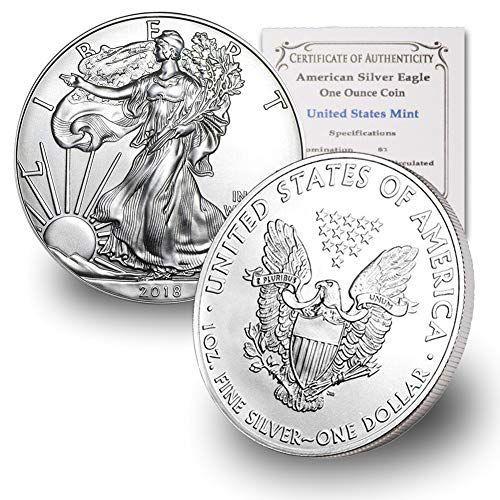 2018 1 Ounce American Silver Eagle Brilliant Uncirculated W Our Coa Bullion Bullioncoins Coins Coi In 2020 With Images Silver Eagles American Silver Eagle Gold American Eagle