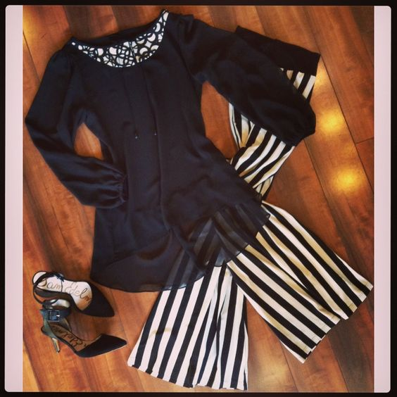 Look of the Day ~ Black & white striped pants, top with laser cut collar & Sam Edelman ankle strap pumps!