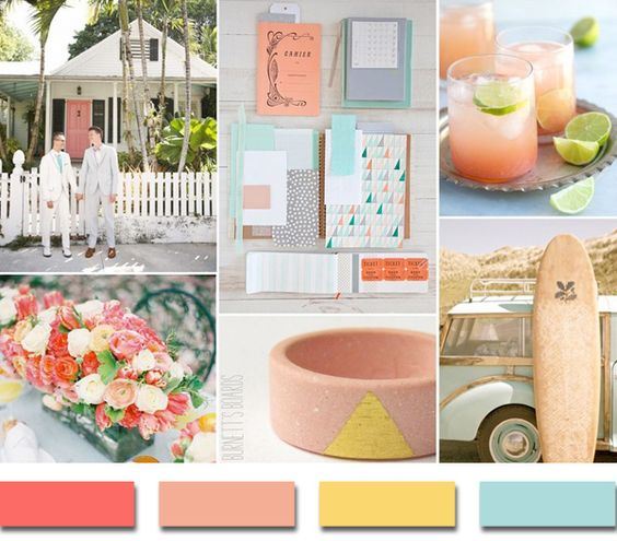 2014 coral yellow and blue summer beach wedding color ideas www.finditforweddings.com Inspiration board