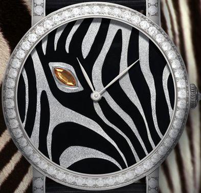 Delaneau - Montre 'Zèbre' - Or Blanc, Diamants, Saphir Orange et Email