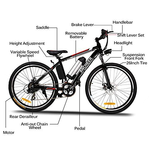 Ancheer 250w Electric Mountain Bike With Removable Lithium Ion