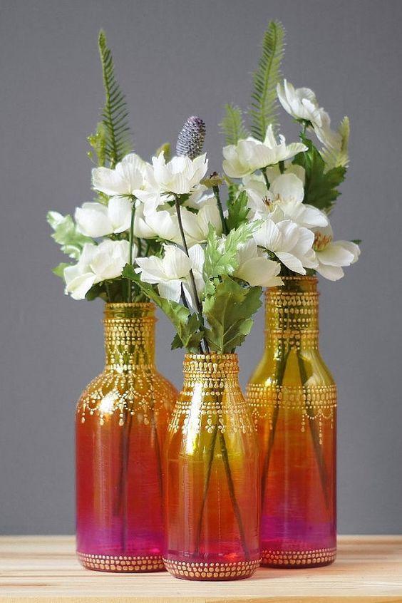 Ombre gemalt Blütenknospe Vasen mit bunten Ombre Glas von Rubinrot, intensiv Rosa, mit Goldakzenten