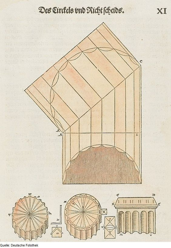 Original image description from the Deutsche Fotothek  Architektur & Geometrie & Säulenkonstruktion &    Kannelurenform  AuthorWalther Hermann Ryff  ArtistPetrejus, Johann (Drucker)  Date1547