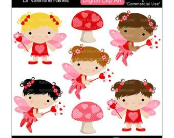 cute digital clip art fairy clipart faeries girl pink red - Lil Valentine Fairies - Digital Clip Art - Personal Commercial Use https://www.etsy.com/market/valentine_fairy