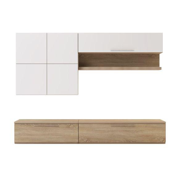 Meuble tv avec l ments muraux et banc naturel blanc isola livings livi - Banc tv blanc et bois ...