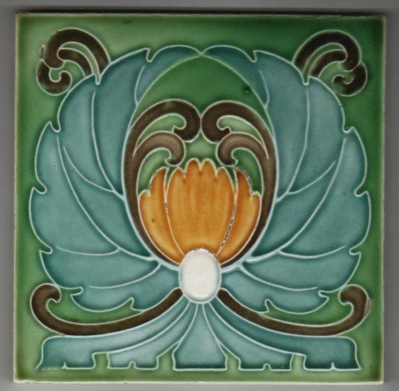 Jugendstil Fliese Kachel Art Nouveau Tile SOMAG | eBay