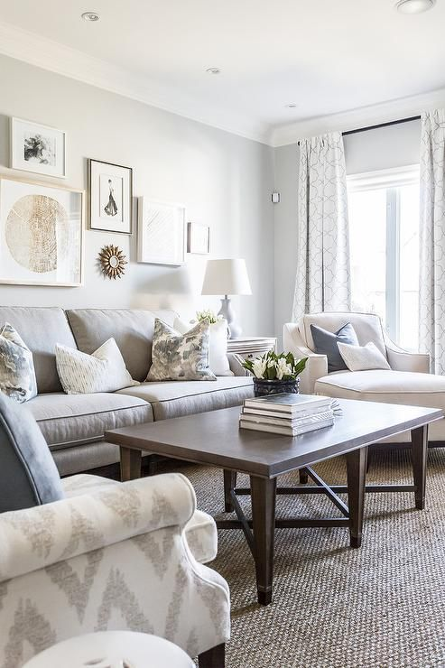 Light Gray Sofa With White And Gray Pillows Against A Wall Showcasing A Staggered Art Gallery On A Li Brown Living Room Grey Walls Living Room Living Room Grey