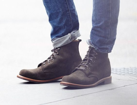 original chippewa for j crew suede plain toe boots shoes