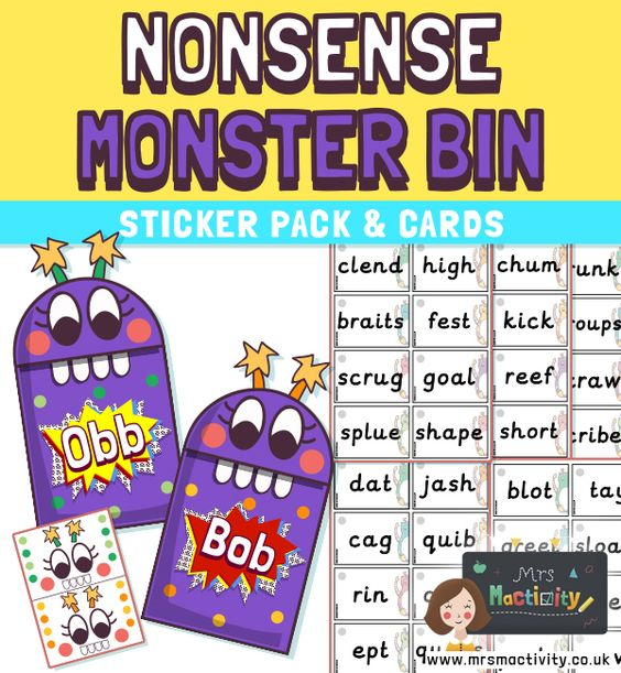 Make your own Obb and Bob Phonics sorting game with our Obb and Bob Bins Printable. Great phonics game using previous words from the phonics screening check.