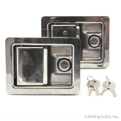 2 Stainless Door Lock Trailer Toolbox Rv Handle Latch Lg Weld Screw Paddle Key Trailer Accessories Door Locks Tool Box