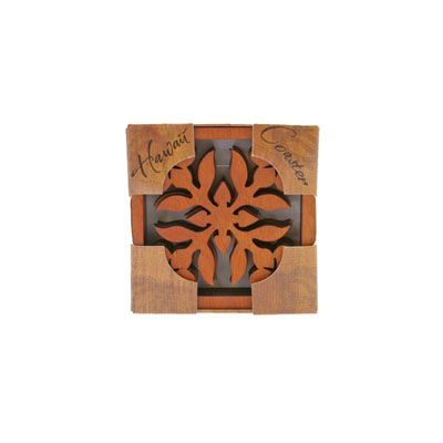Wooden Quilted Plumeria Coasters