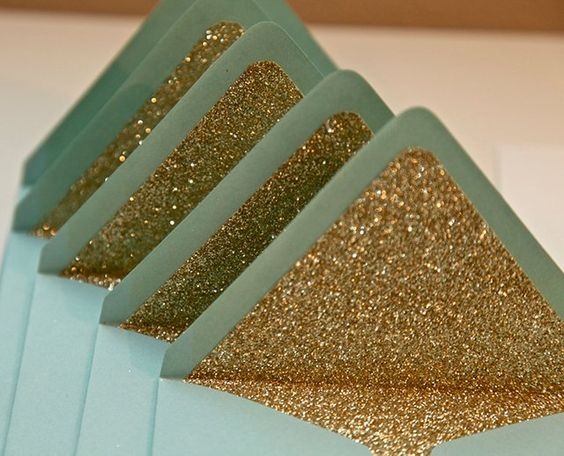 for the romantics who still write letters (like me) Gold Glitter Envelope Liners -- and I make envelope liners in glittery silver, too!