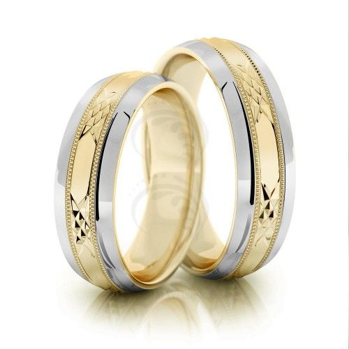 Two Tone 10k White-yellow-white Gold Polish Beveled Edge Matching Wedding Bands 6mm 02029