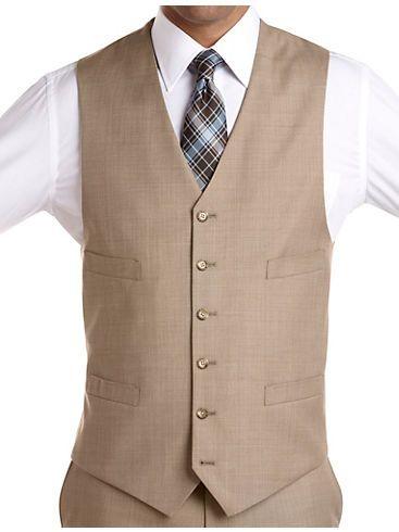 Men's Wearhouse Vested Suits - Brown - Taupe - Tan - Suits & Suit Separates - Mens -