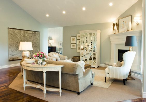 furniture placement for angled fireplace...where was this 6 years ago when I had an angled fire place just like this