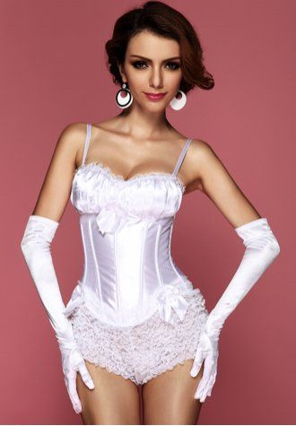 White Peasant Burlesque Corset - AM22732 - houseofsashlingerie.com