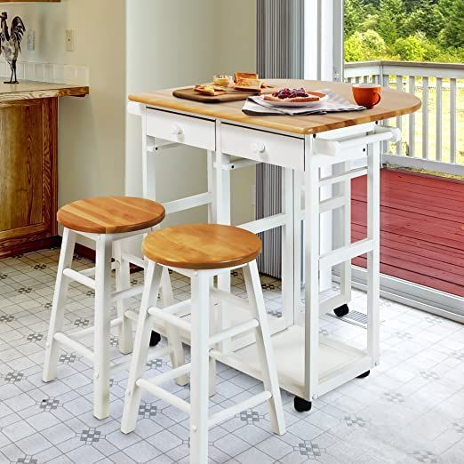 White Drop Leaf Breakfast Cart With 2 Stools Space Saving Solutions For Small Kitchens Small Kitchen Tables Drop Leaf Table Kitchen Furniture