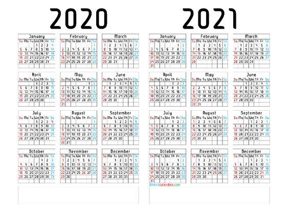 free 2020 and 2021 calendar printable