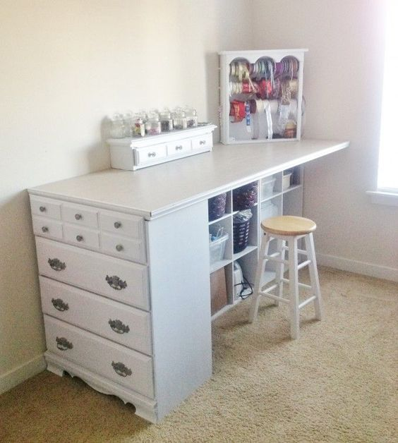 20+ Of The BEST Upcycled Furniture Ideas   Craft Station, Repurposed And  Dresser