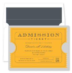 Admission Ticket Bright Gold Invitations by Noteworthy Collections ...