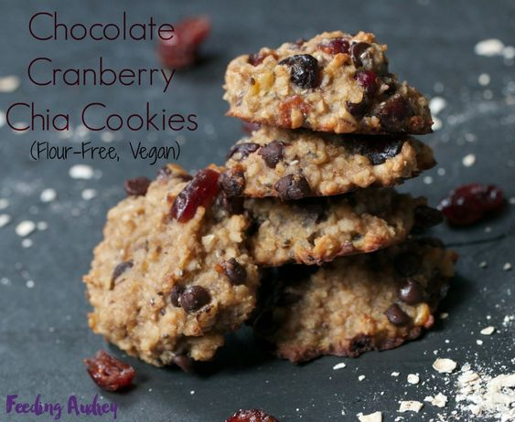 Chocolate-Cranberry Chia Cookies  Flour-Free, Vegan, 1-Bowl and Easy!