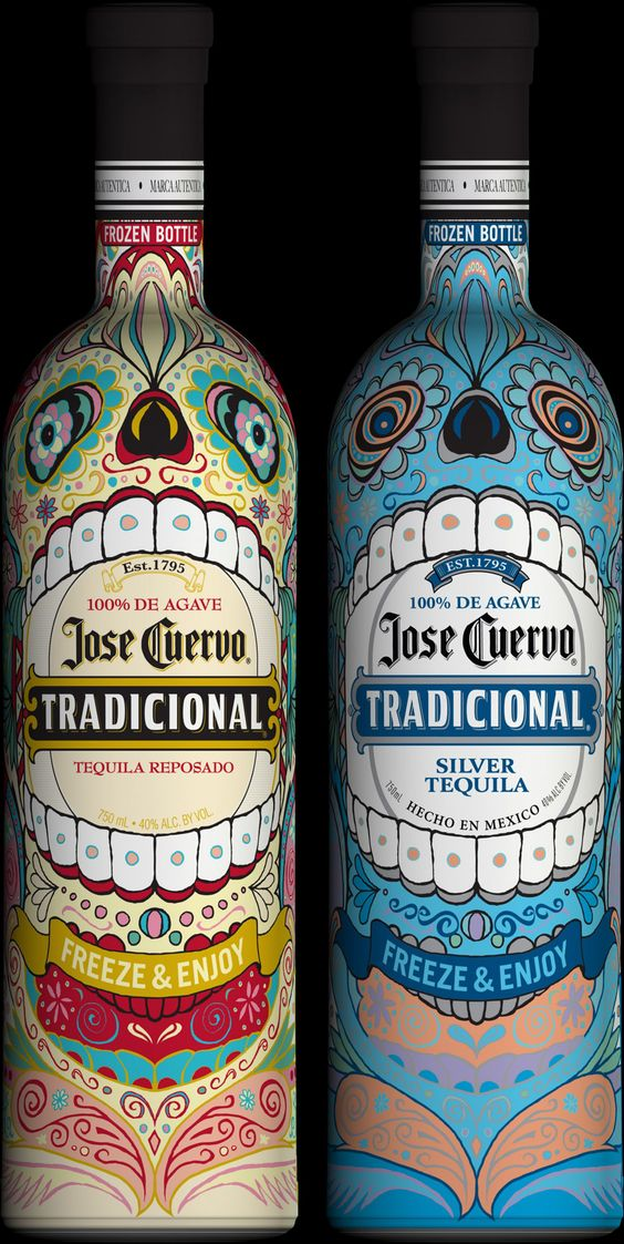 Jose Cuervo has unveiled its limited-edition thermochromic packaging, which features Mexican-inspired skeletons that come to life in brilliant color when chilled to at least 42 degrees. How awesome do these bottles look?