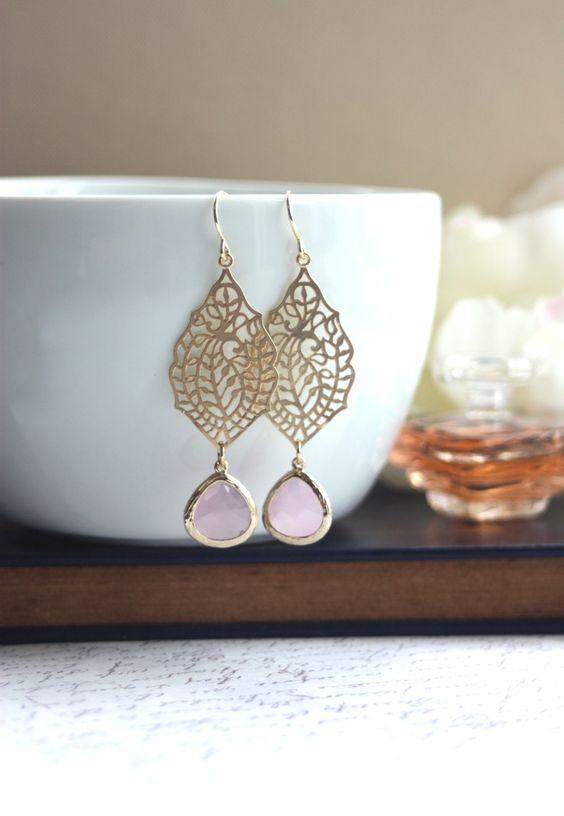 A Paisley Filigree Chandelier Ice Pink Gold Drop Dangle Earrings, Bridesmaid Earrings, Bridesmaid Gift, Wedding Bridal Jewelry. $24.50, via Etsy.