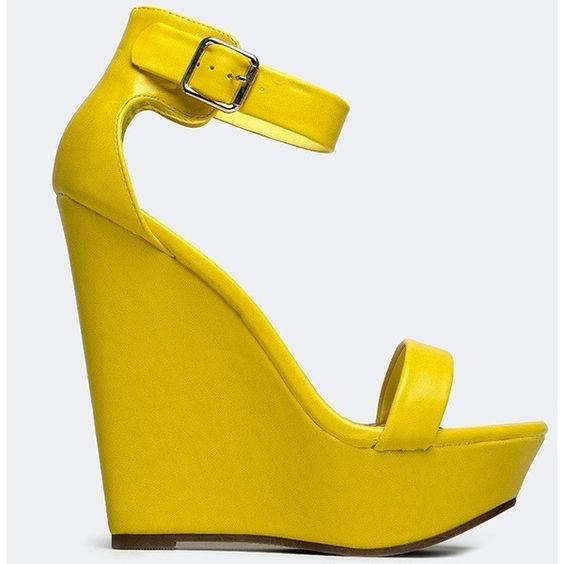 VIVI-21 WEDGE ($30) ❤ liked on Polyvore featuring shoes, sandals, wedges, heels, yellow, platform sandals, yellow heel shoes, platform shoes, yellow shoes and wedge heel sandals