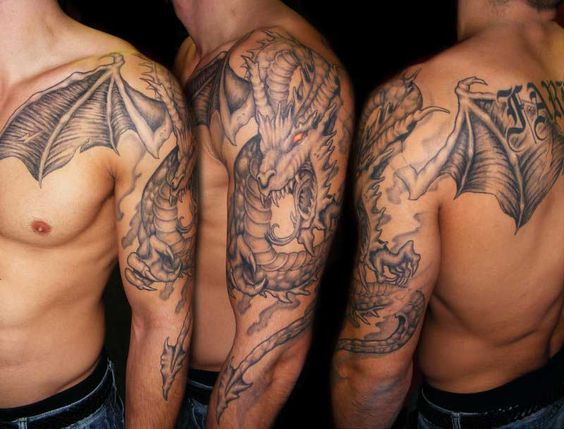 Dragon shoulder tattoo designs. Shoulder dragon design to enrich yourself very stylish.: