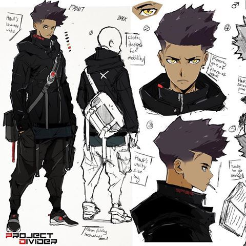 A New Work In Progress Concept Sheet Idea Of A Character I Wanted To Make For A While But Anime Character Design Concept Art Characters Black Anime Characters